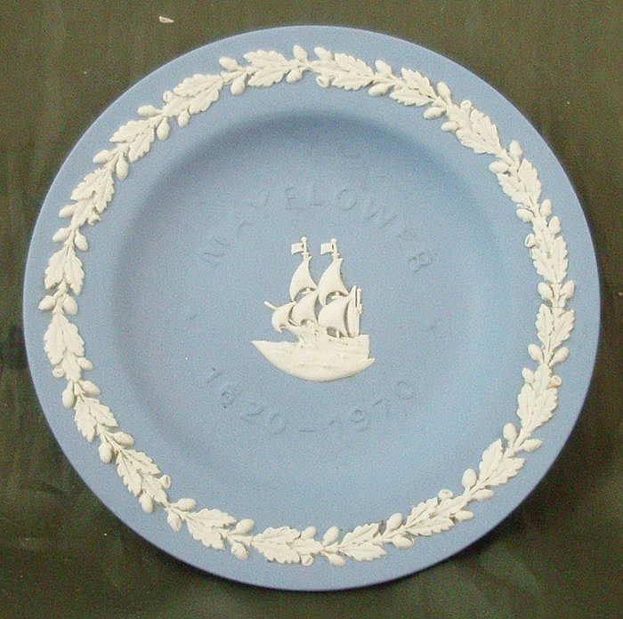 Wedgwood Light Blue Jasper Ware Mayflower Landing 350th Anniversary Sweet Meat Dish
