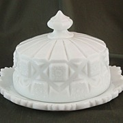 Westmoreland Old Quilt Milk Glass Cheese Dish