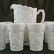 Westmoreland Old Quilt Milk Glass Water Set