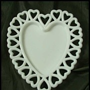 Westmoreland Milk Glass Heart Plate with Reticulated Border
