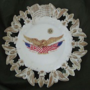 Westmoreland Fleur de Lys & Eagle Border Milk Glass Plate with Eagle Center