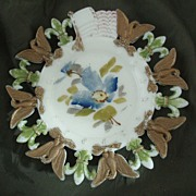 Westmoreland Fleur de Lys & Eagle Border Milk Glass Plate Floral Center