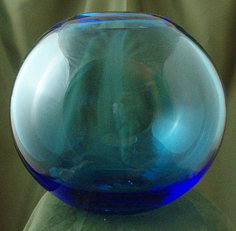Blenko Blue Ball Vase