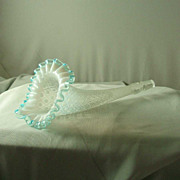 Fenton French Opalescent Diamond Lace Aqua Crest Epergne Horns