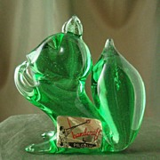 Pilgrim Green Glass Squirrel Figurine