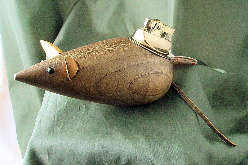 Vintage Teak Pioneer Max the Mouse Table Lighter