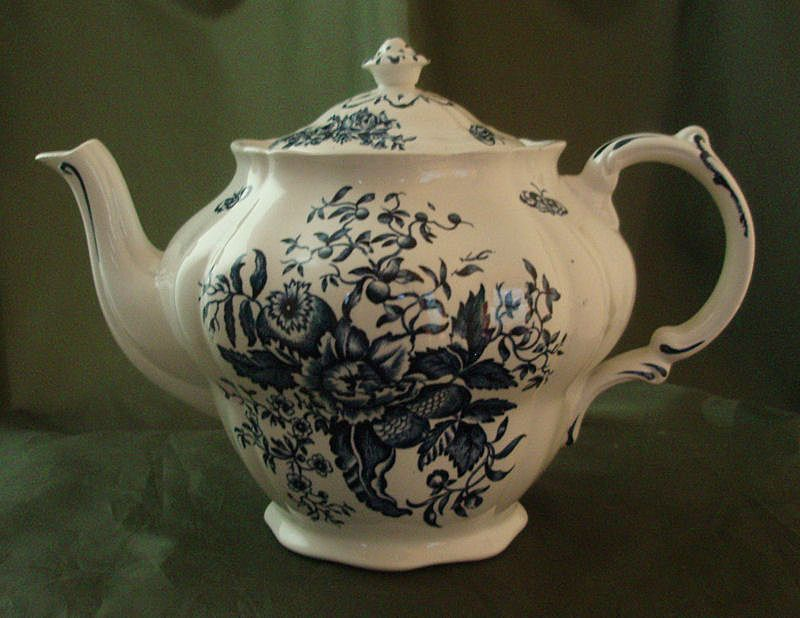 Booths Staffordshire Blue Transferware Peony Pattern Teapot