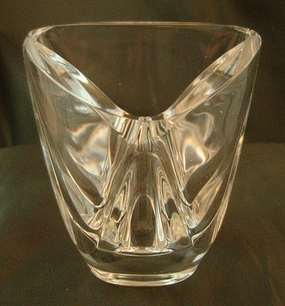 Val Saint Lambert Triangular Vase