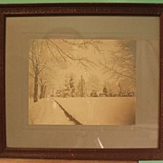 Early 20th Century Albumen Print - Snow Scene with Driveway