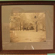 Early 20th Century Albumen Print - House in the Snow