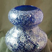 Dugan Art Glass Double Gourd Vase - Cobalt Blue & White