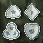 Wedgwood Reverse Jasper Ware Card Suite Sweet Dishes - Set of Four