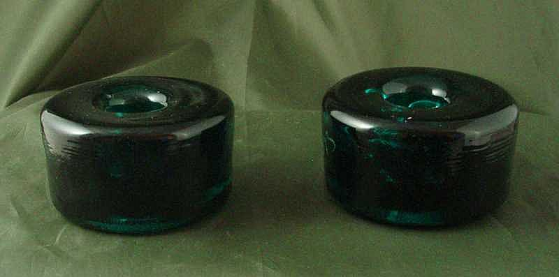 Blenko Sea Green Candleholders