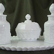 Westmoreland Paneled Grape Milk Glass Vanity Set