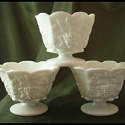 Westmoreland Paneled Grape Milk Glass Mayonnaise