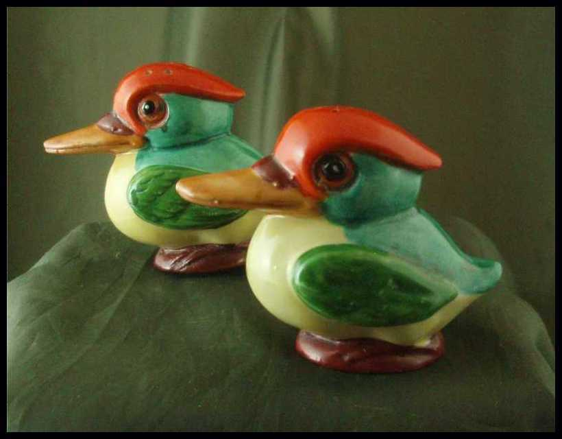 Vintage German Porcelain Kingfisher Salt & Pepper Shakers