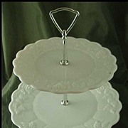 Westmoreland Paneled Grape Milk Glass 2-Tiered Server