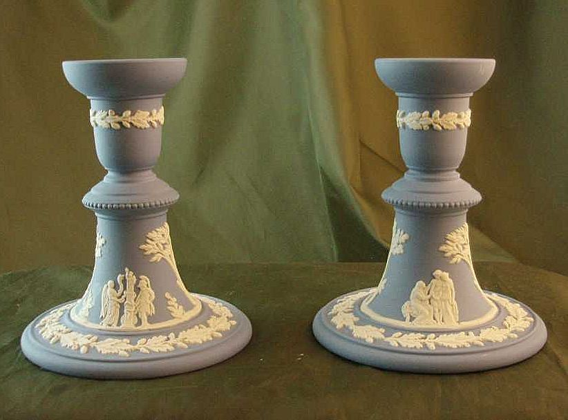 Wedgwood Light Blue Jasper Ware Reading Candlesticks