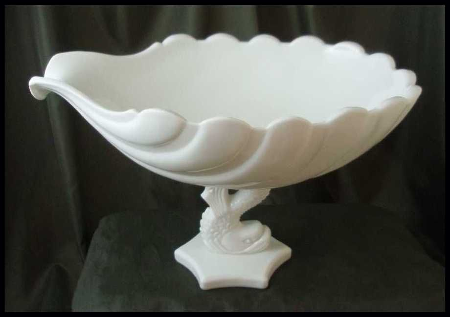Westmoreland Milk Glass Large Dolphin & Shell Bowl