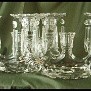 Cambridge Crystal Caprice Three-Light Candelabras - Pair