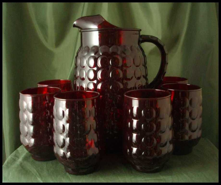 Anchor Hocking Royal Ruby Provincial Pitcher Set