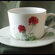 Block China Geranium Cup & Saucer