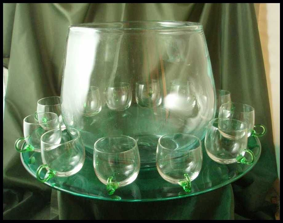 Blenko Crystal & Sea Green Punch Set