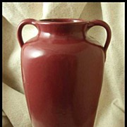 North Carolina Pottery Burgundy Handled Floor Vase