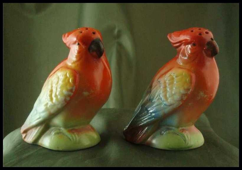 Vintage German Porcelain Cockatoo Salt & Pepper Shakers