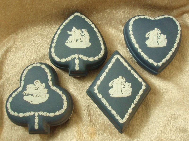 Wedgwood Portland Blue Jasper Ware Card Suite Boxes - Set of Four
