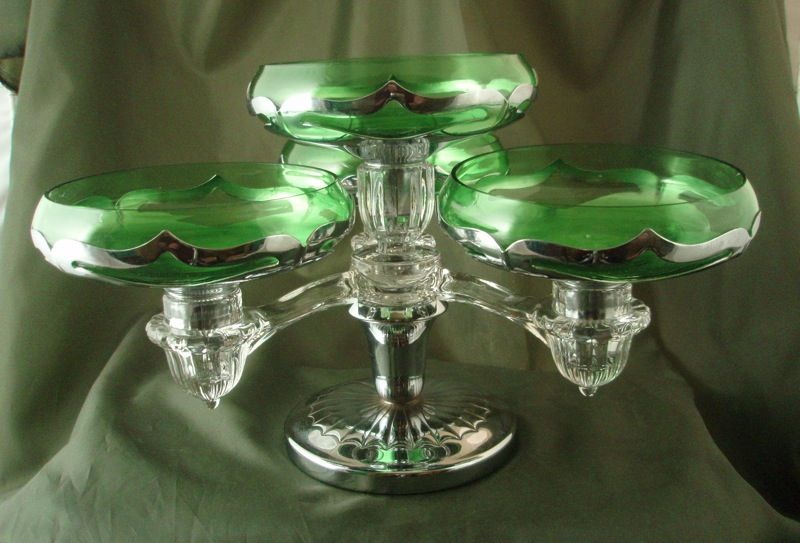 Farber Brothers Krome Kraft Cambridge Arms Centerpiece with Green Inserts