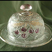 Northwood Cherry Trellis Ruby-Stained Round Butter Dish