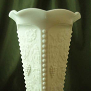 Westmoreland Beaded Grape Milk Glass Crimped Vase