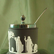 Wedgwood Black Jasper Ware Mustard Jar with Silverplate Lid & Spoon