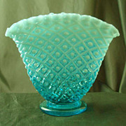 Fenton Blue Opalescent Diamond Lace Fan Vase
