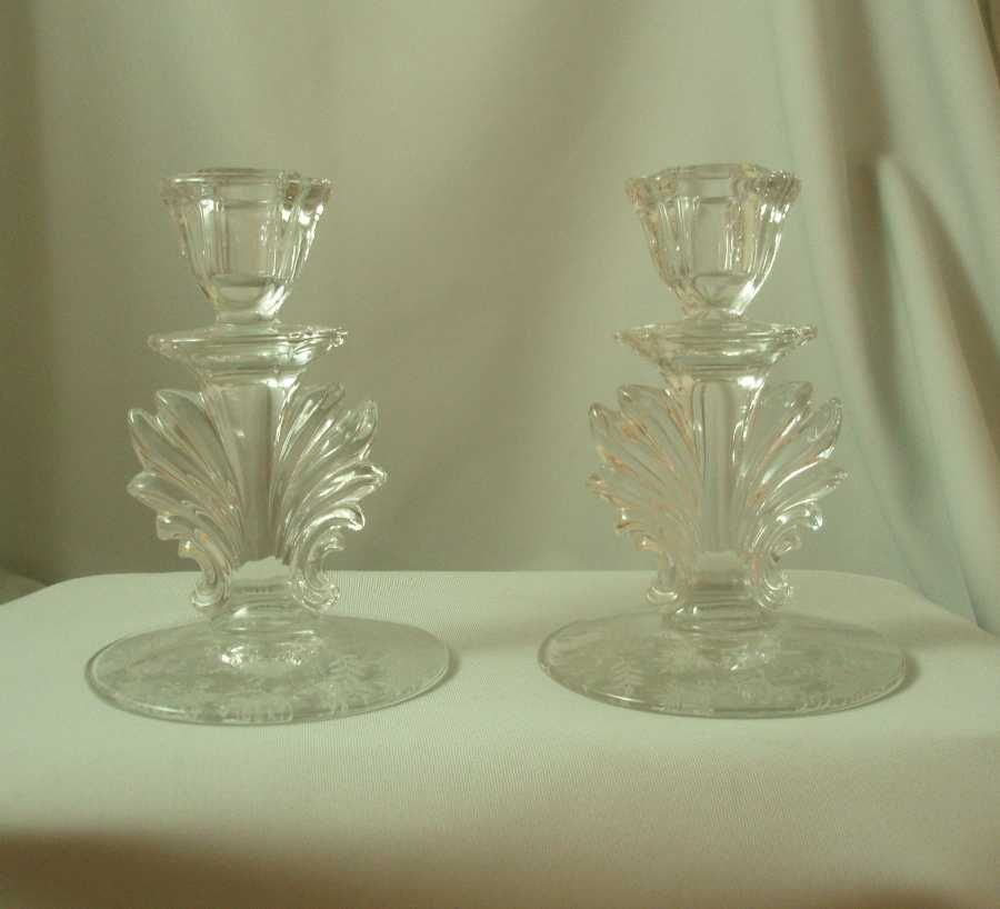 Fostoria Chintz #2496 Candlesticks - Pair