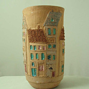 Vintage Raymor Terracotta Street Scene Vase