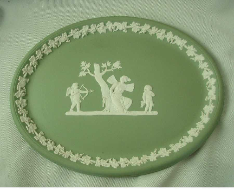 Wedgwood Green Jasper Ware Oval Vanity Tray