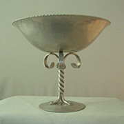B W Buenilum Hand-Hammered Aluminum Tall Stem Compote