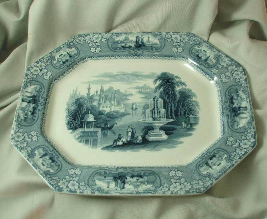 J Furnival & Co. Medina Dark Blue Transferware Platter
