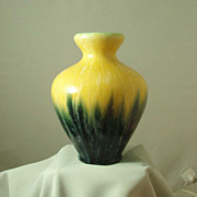 Boch Freres Yellow & Black Blended Glaze Vase