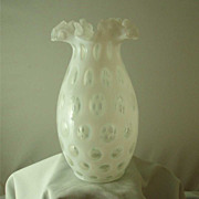 Fenton French Opalescent Coin Dot Vase