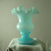 Small Fenton Blue Overlay Vase