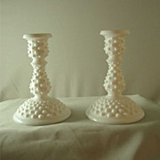 Fenton Hobnail Milk Glass Medium Candlesticks - Pair