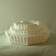 Fenton Hobnail Milk Glass Octagon Stacking Ashtrays - Set of Three