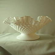 Fenton Hobnail Milk Glass Footed Bowl