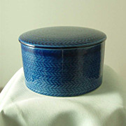 Rorstrand Blue Fire Round Covered Butter Dish