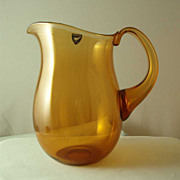 Orrefors Amber Water Pitcher