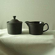 Wedgwood Black Basalt Design 63 Cream & Sugar