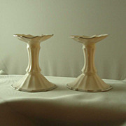 Lenox China Flared Top Platinum-Banded Candlesticks
